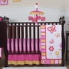 Pink and Orange Butterfly Baby Bedding - 11pc Crib Set