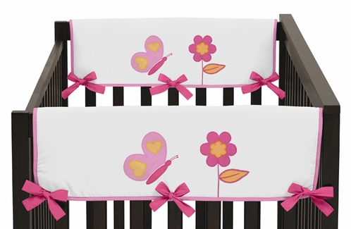 Pink and Orange Butterfly Baby Crib Side Rail Guard Covers by Sweet Jojo Designs - Set of 2 - Click to enlarge