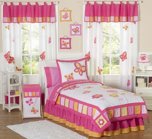 Pink and Orange Butterfly Childrens Bedding - 4pc Twin Set - Click to enlarge