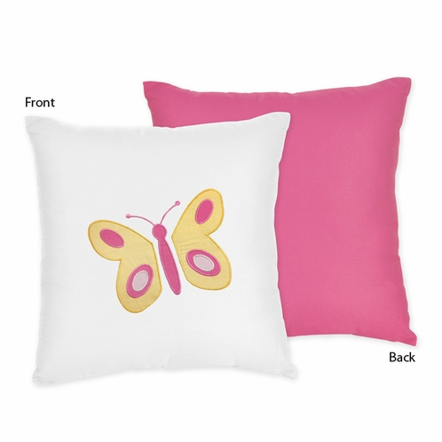 Pink and Orange Butterfly Decorative Accent Throw Pillow by Sweet Jojo Designs - Click to enlarge