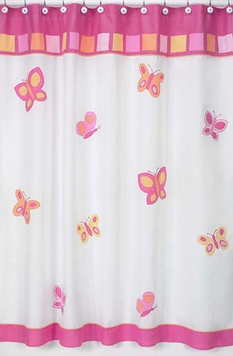 Pink and Orange Butterfly Kids Bathroom Fabric Bath Shower Curtain - Click to enlarge