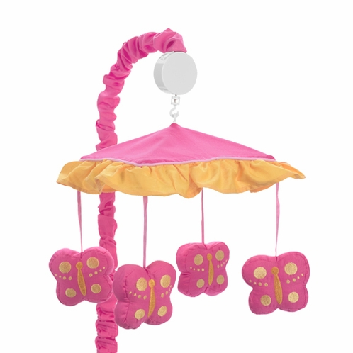Pink and Orange Butterfly Musical Crib Mobile - Click to enlarge