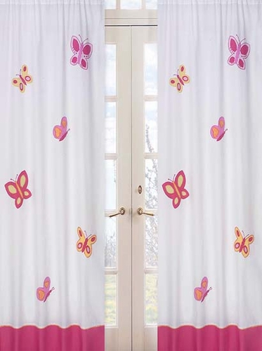 Pink and Orange Butterfly Window Treatment Panels - Set of 2 - Click to enlarge