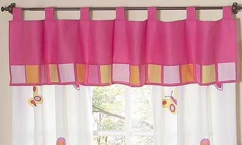 Pink and Orange Butterfly Window Valance - Click to enlarge
