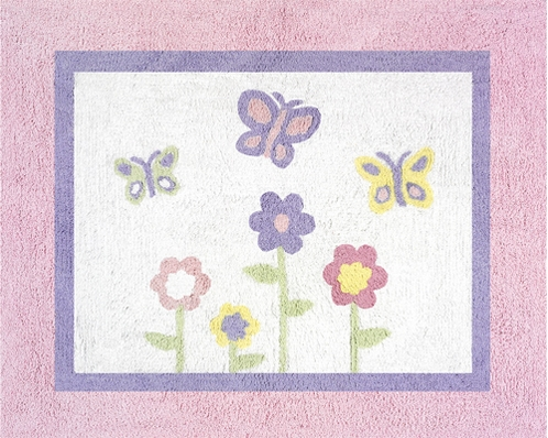 Pink and Purple Butterfly Accent Floor Rug - Click to enlarge