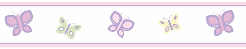 Pink and Purple Butterfly Baby and Childrens Wall Border by Sweet Jojo Designs - Click to enlarge