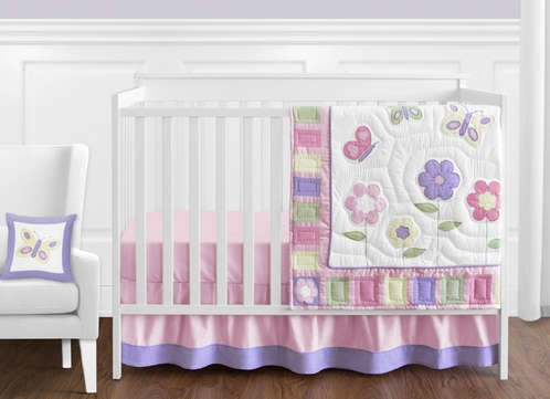 Pink and Purple Butterfly Baby Bedding - 11pc Crib Set - Click to enlarge