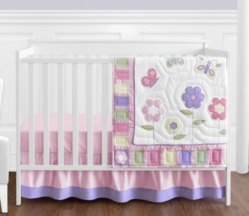 Pink and Purple Butterfly Baby Bedding - 4pc Crib Set - Click to enlarge