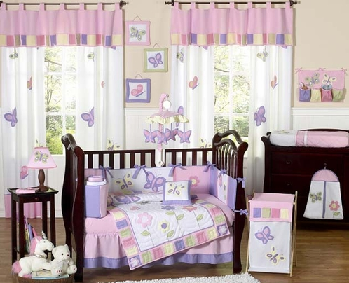 pink and purple butterfly baby bedding 9pc crib set only. Black Bedroom Furniture Sets. Home Design Ideas