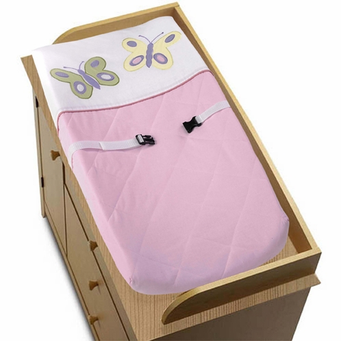 Pink and Purple Butterfly Changing Pad Cover - Click to enlarge