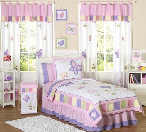 Pink and Purple Butterfly Children's Bedding- 3pc Full / Queen Set - Click to enlarge