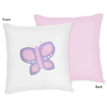 Pink and Purple Butterfly Decorative Accent Throw Pillow by Sweet Jojo Designs