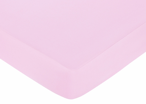 Pink and Purple Butterfly Fitted Crib Sheet for Baby and Toddler Bedding Sets by Sweet Jojo Designs - Solid Pink - Click to enlarge