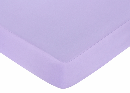 Pink and Purple Butterfly Fitted Crib Sheet for Baby and Toddler Bedding Sets by Sweet Jojo Designs - Solid Purple - Click to enlarge