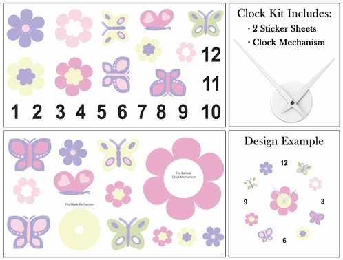 Pink and Purple Butterfly Kids and Baby DIY Clock with Stickers by Sweet Jojo Designs - Click to enlarge