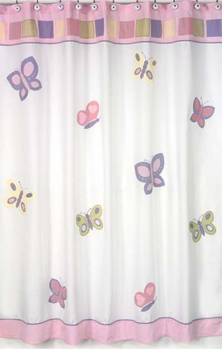 Pink and Purple Butterfly Kids Bathroom Fabric Bath Shower Curtain - Click to enlarge