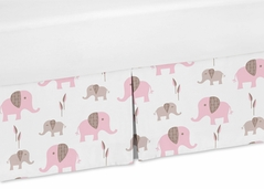 Pink and Taupe Crib Bed Skirt for Mod Elephant Bedding Sets