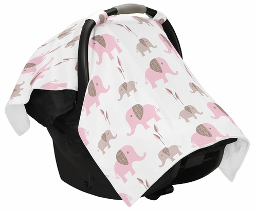 Pink and Taupe Elephant Baby Infant Car Seat Carrier Stroller Cover by Sweet Jojo Designs - Click to enlarge