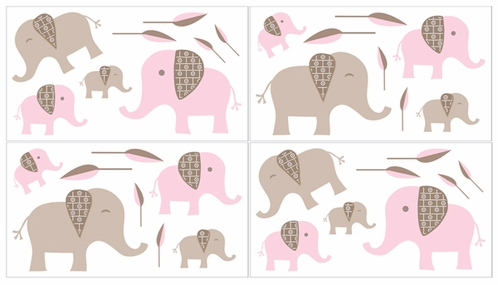 Pink and Taupe Mod Elephant Baby and Kids Wall Decal Stickers by Sweet Jojo Designs - Set of 4 Sheets - Click to enlarge