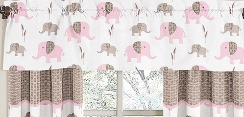 Pink and Taupe Mod Elephant�Window Valance by Sweet Jojo Designs - Click to enlarge
