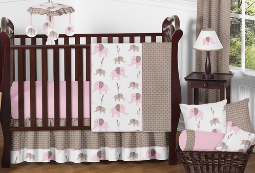 Pink And Taupe Mod Elephant Baby Bedding 11pc Crib Set By Sweet Jojo Designs