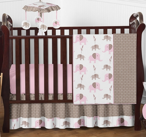 Pink and Taupe Mod Elephant Baby Bedding - 4pc Crib Set by Sweet Jojo Designs - Click to enlarge