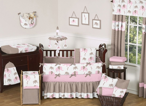 Pink And Taupe Mod Elephant Baby Bedding   9pc Crib Set By Sweet Jojo  Designs