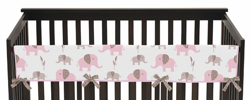 Pink and Taupe Mod Elephant Baby Crib Long Rail Guard Cover by Sweet Jojo Designs - Click to enlarge