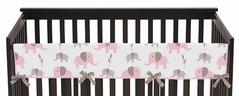 Pink and Taupe Mod Elephant Baby Crib Long Rail Guard Cover by Sweet Jojo Designs