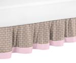 Pink and Taupe Mod Elephant Bed Skirt for Toddler Bedding Sets by Sweet Jojo Designs