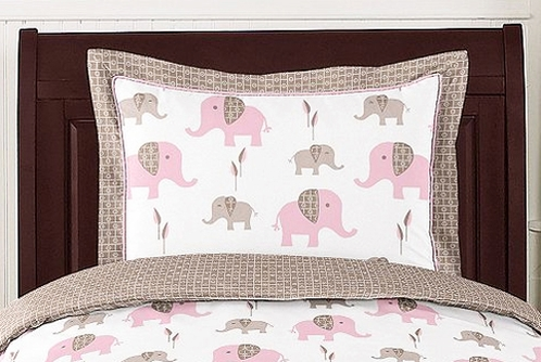 Pink and Taupe Mod Elephant Pillow Sham by Sweet Jojo Designs - Click to enlarge