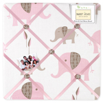 Pink and Taupe Mod Elephant Fabric Memory/Memo Photo Bulletin Board by Sweet Jojo Designs