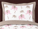 Pink and Taupe Mod Elephant Pillow Sham by Sweet Jojo Designs
