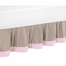 Pink and Taupe Mod Elephant Queen Bed Skirt for Childrens Bedding Sets by Sweet Jojo Designs