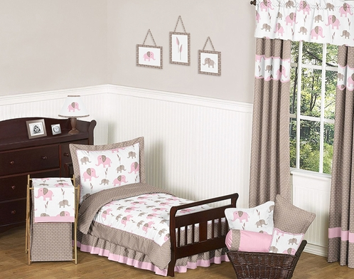 Pink and Taupe Mod Elephant Toddler Bedding - 5pc Set by Sweet Jojo Designs - Click to enlarge