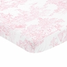 Pink and White Baby or Toddler Fitted Mini Portable Crib Sheet for French Toile Collection by Sweet Jojo Designs