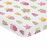 Pink and White Baby Fitted Mini Portable Crib Sheet for Happy Owl Collection by Sweet Jojo Designs