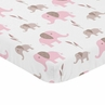 Pink and White Baby or Toddler Fitted Mini Portable Crib Sheet for Mod Elephant Collection by Sweet Jojo Designs