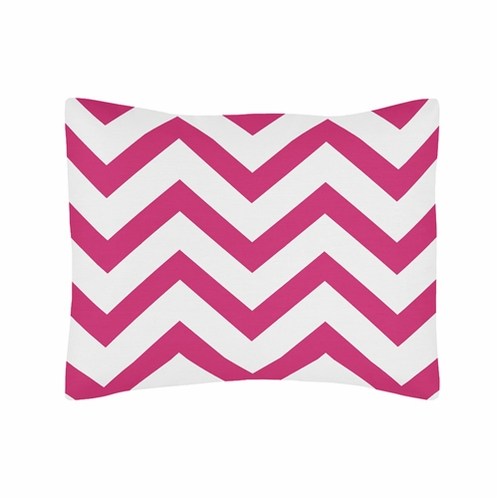 Standard Pillow Sham for Hot Pink and White Chevron Zig Zag Bedding by Sweet Jojo Designs - Click to enlarge