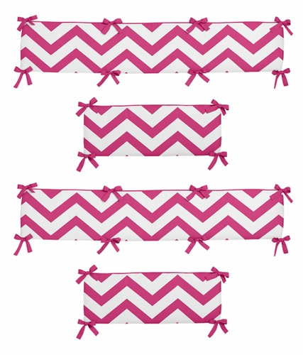 Pink and White Chevron Collection Crib Bumper by Sweet Jojo Designs - Click to enlarge