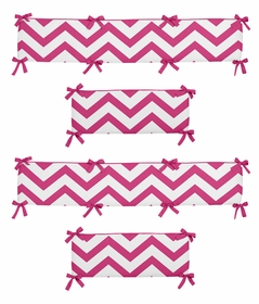 Pink and White Chevron Collection Crib Bumper by Sweet Jojo Designs