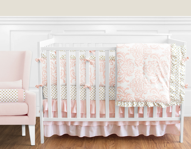 piece little girl lilac peanut and elephants shell ip cotton the sets crib baby gold set fabrics bedding