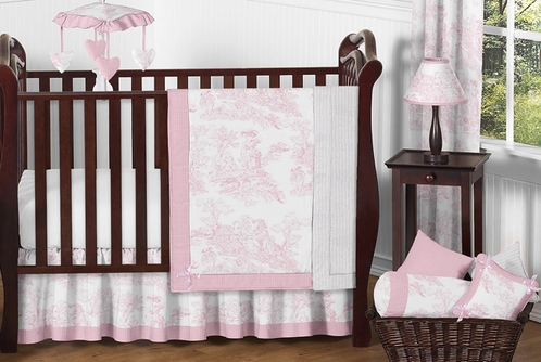 French Baby Furniture Intended Pink And White French Toile Baby Bedding 11pc Crib Set Click To Enlarge Only 18999