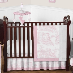 Pink and White French Toile Baby Bedding - 11pc Crib Set