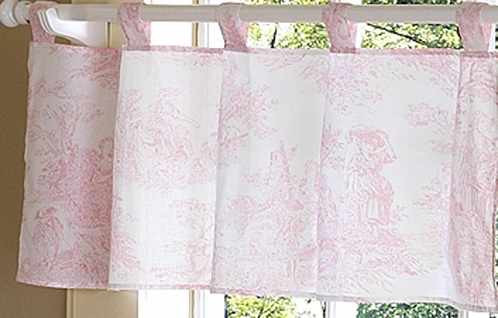Pink French Toile Window Valance - Click to enlarge