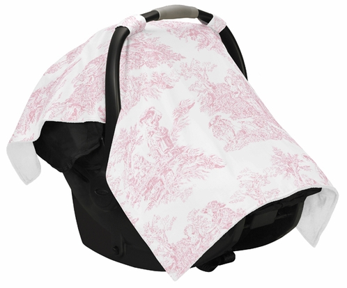 Pink and White French Toile Baby Infant Car Seat Carrier Stroller Cover by Sweet Jojo Designs - Click to enlarge