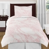 Pink and White Marble 4pc Twin / Twin XL Bedding Set by Sweet Jojo Designs