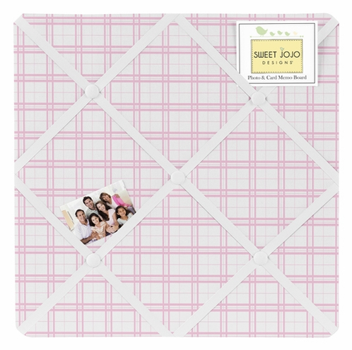 Pink and White Plaid Fabric Memory/Memo Photo Bulletin Board for Pretty Pony Collection by Sweet Jojo Designs - Click to enlarge