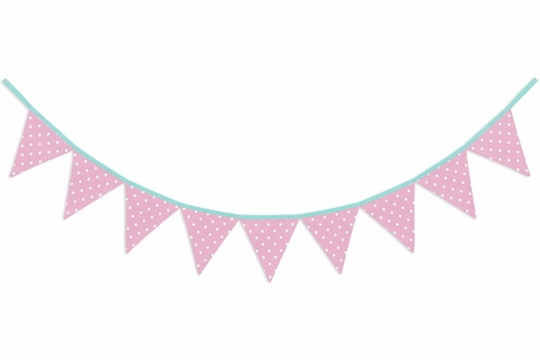 Pink and White Polka Dot Fabric Pennant Flag Banner Bunting Nursery Baby Wall Décor - Click to enlarge