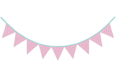 Pink and White Polka Dot Fabric Pennant Flag Banner Bunting Nursery Baby Wall D�cor